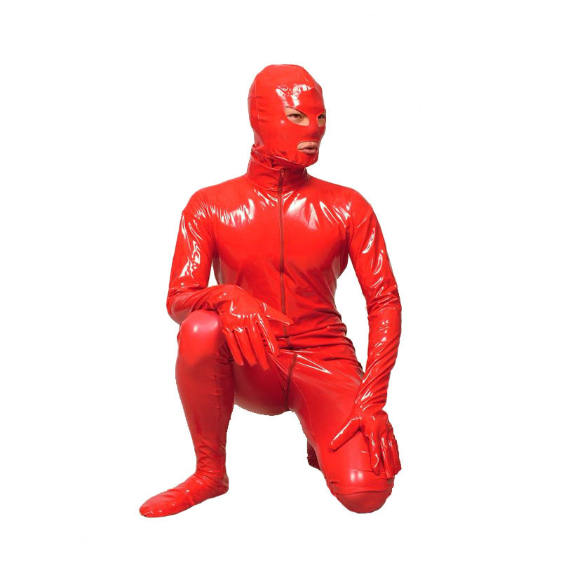 Free Shipping New Arrival Sexy Red PVC Zentai Catsuit Fancy Dress Zentai Suit For Halloween Party Front Zipper Jumpsuit Bodysuit