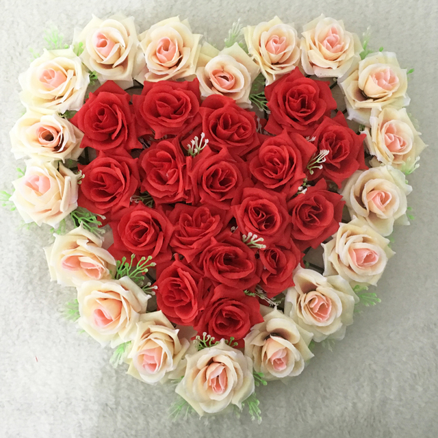 21colors Red Champagne Lovely Heart Shape Rose Flowers For Wedding Car Wall Door Artificial Decorative