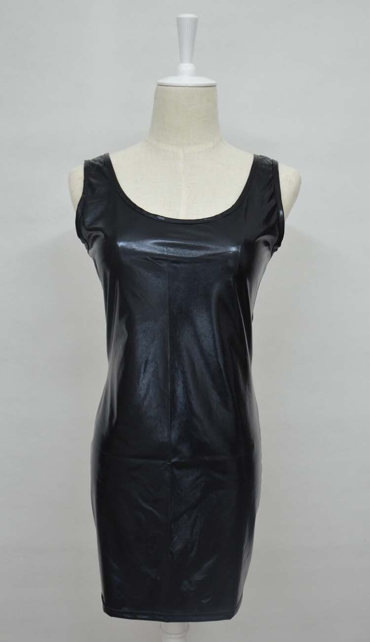 2018 New Sexy Women Patent Leather Dresses Sleeveless Crew Neck Mini Dress Party Clubwear Black Plus Size 5XL Vestido in Dresses from Women 39 s Clothing