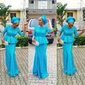 Robe de soirée 2017 Elegante Africano Azul Vestidos de Noite Mangas Meia Africano Senhora de Noite Formal Vestidos de Festa vestido de noche