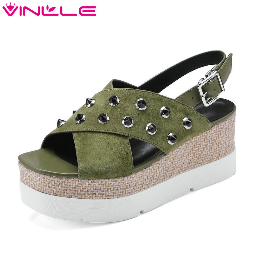 VINLLE 2018 Western Style Women Sandals Shoes Woman Peep Toe Wedge High Heel Leather Platform Ladies Wedding Shoes Size 34-42 vinlle 2018 woman pumps thick high heel sexy peep toe black gladiator summer women shoes zipper wedding dating shoes size 34 43