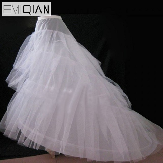 Cheap Wedding Petticoat Jupon Court Train Crinoline Slip Underskirt For A Line Dress 3