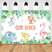 Animal Backdrops Cute Africa Elephant Kids Children Birthday Party Banner Background Photography Dessert Table Decoration