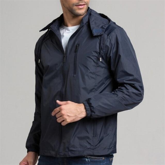 Plus Size 3XL 4XL Spring Autumn Jackets Men Waterproof Windbreak New Fashion Design 2016 Black Hoody Slim Fitness Jacket Coats