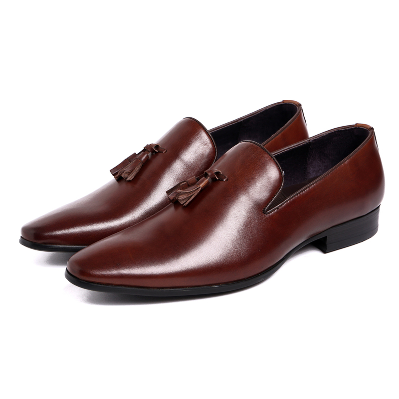 2017 Men's Classic Retro Mens Loafer Shoes Genuine Leather Pointed Toe Tassel Cow Leather British Wedding Shoes Flat цена 2017