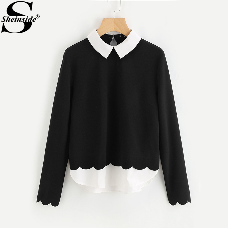 Sheinside Contrast Collar And Hem Scalloped Women Blouses 2017 Color Block Long Sleeve Elegant Tops Ladies Work Blouse