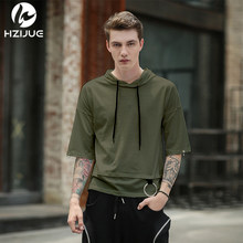HZIJUE 2019 High street Men T shirt simplicity casual summer hoodies hip hop have cap pocket half sleeve top tees t shirt(China)