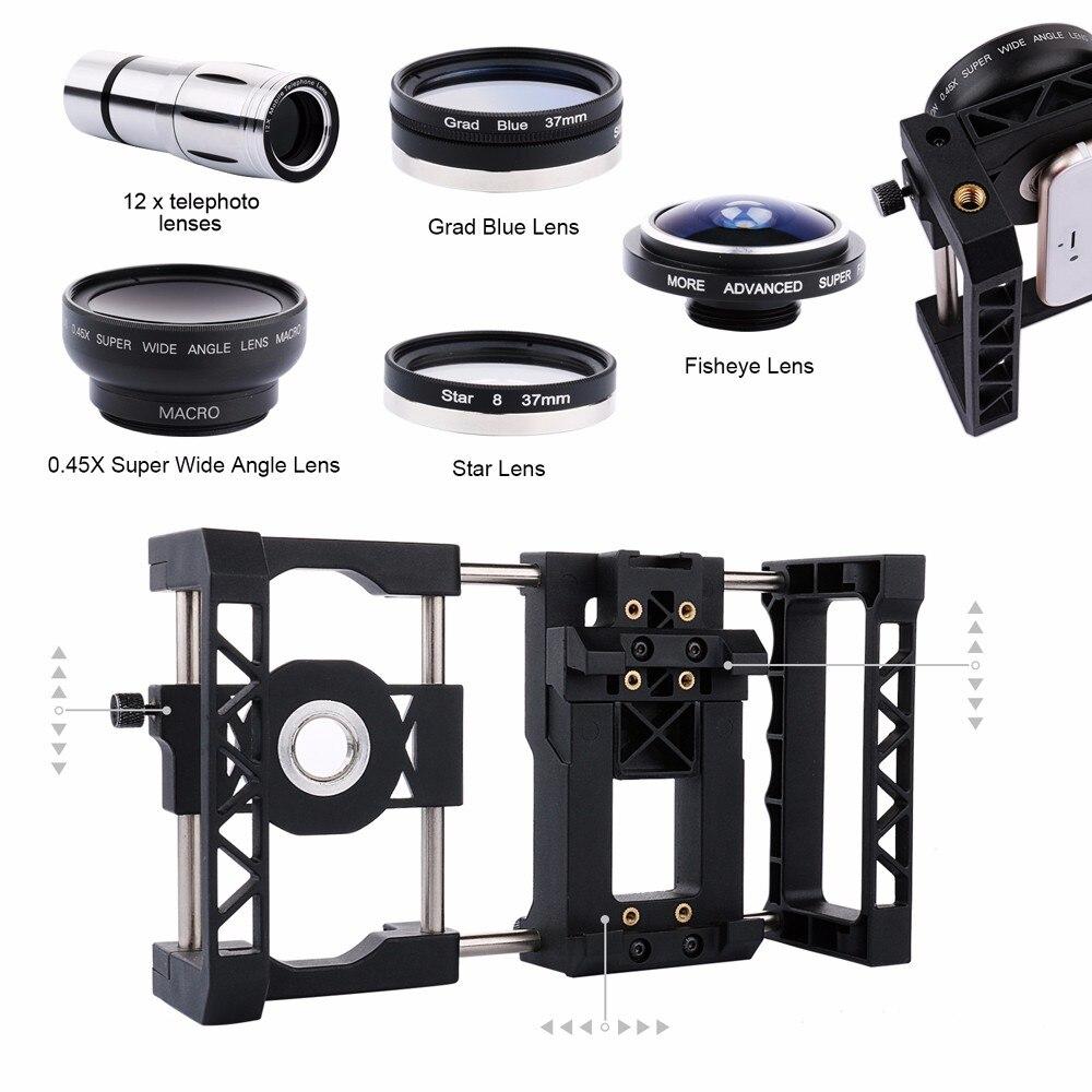 Offres support de montage système de Cage de poignée de stabilisateur + télescope + Macro + grand Angle + objectif Fisheye + filtre pour Samsung S8 S7 Edge S5 A3 J/Z