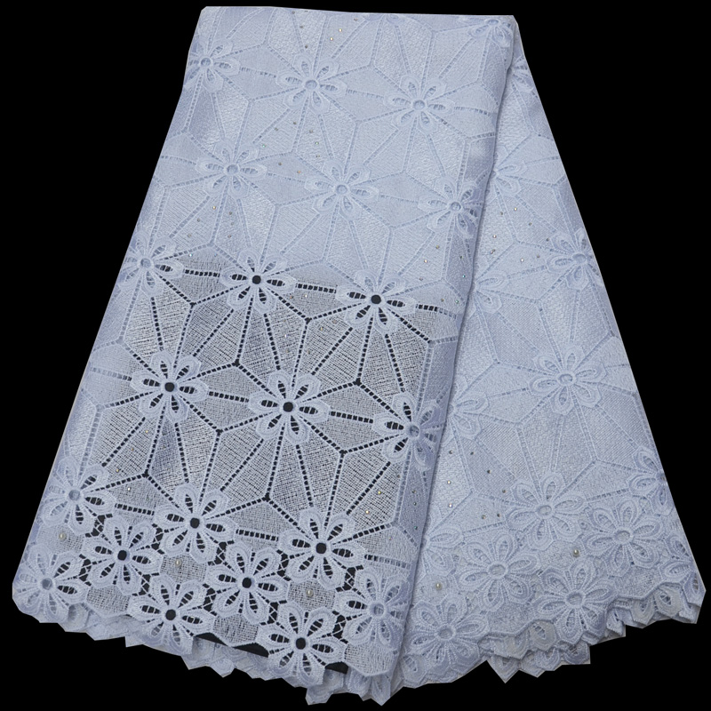 Free shipping (5yards/pc) high quality pure white African guipure lace fabric beautiful design cord lace fabric for dress WLP840