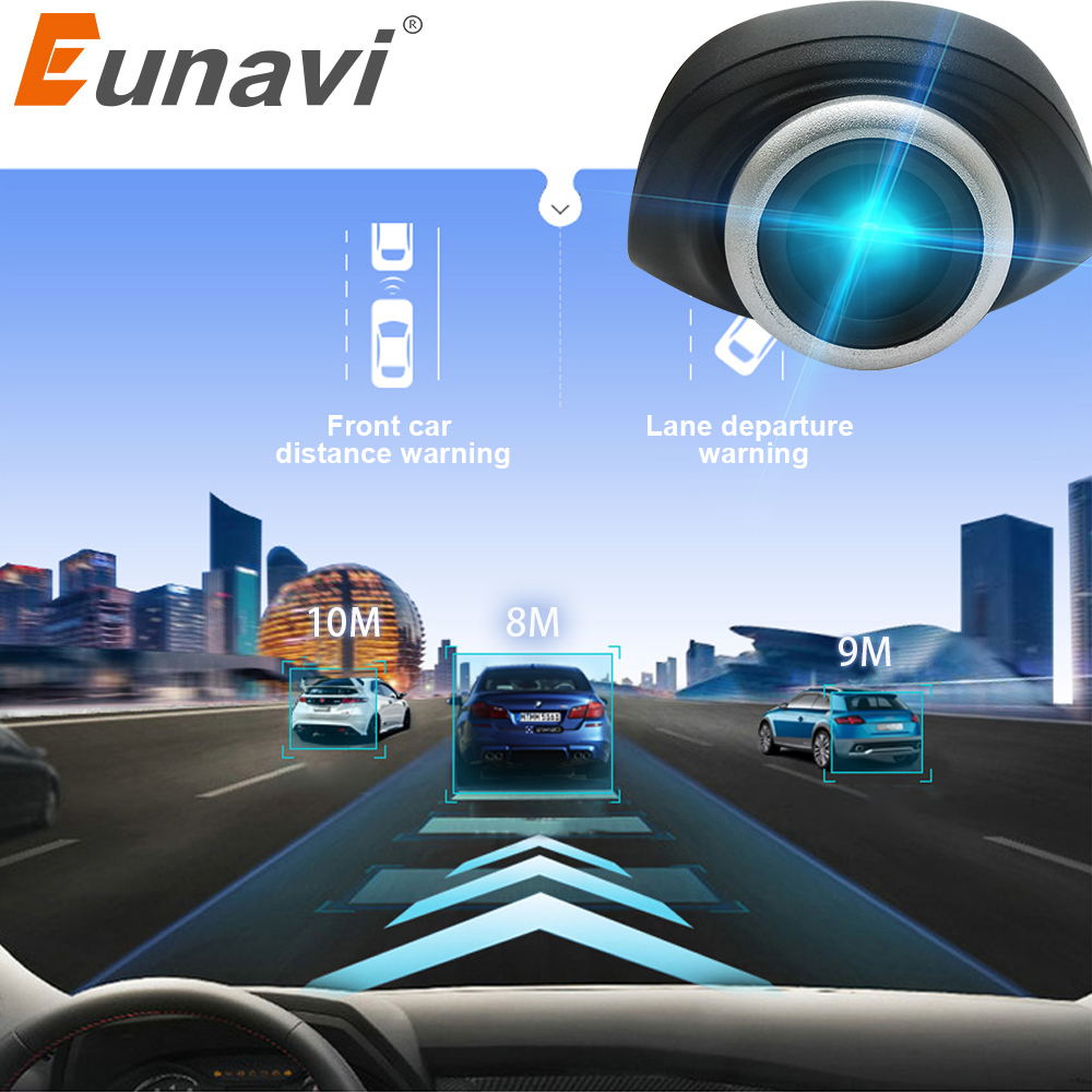 Eunavi Car DVR Camera USB connector Vehicle HD 1280 * 720P DVRs for Android OS system mini Car Driving Recorder Camera with ADAS image