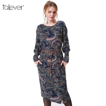 Talever Women Dress Casual Long Puff Sleeve O-Neck Plus Size Dresses Ladies Spring Autumn Vintage Floarl Printed Party Dress