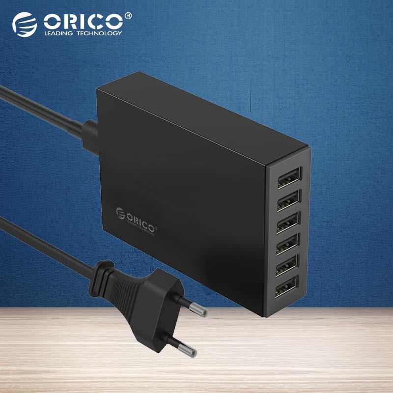 bilder für ORICO 5V2. 4A EU/Us-stecker Desktop Ladegerät Adapter 10A50W 6 USB Port Reiseladegerät für xiaomi iPhone LG huawei-Schwarz (CSL-6U)