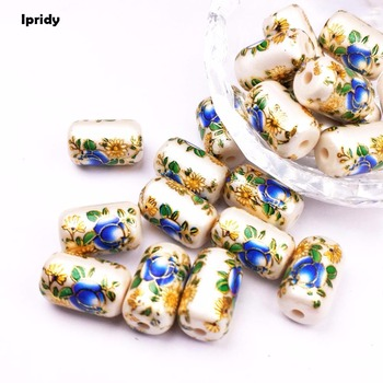 Free Shipping 10Pcs/lot Cylinder Pearl white Japan Painting Vintage Japanese Colored Drawing Beads the bottom of Flower Pattern цена 2017