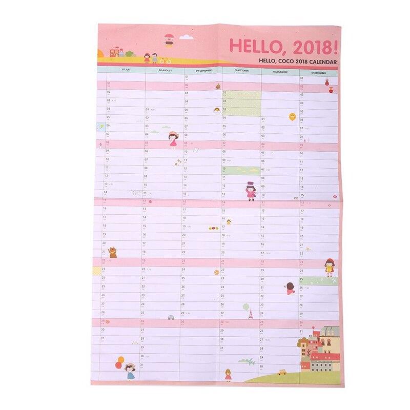 1 PCS Korea Cute Cartoon Wall Calendar 2018  Calendar Creative Plan Paper size 60 * 43cm