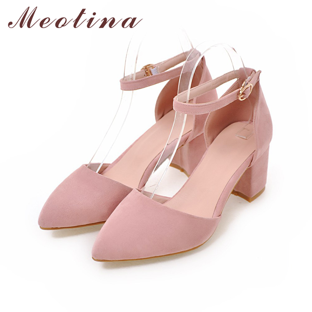 High Heels Women Pumps Two Piece Thick Heels Ladies Party Pink Shoes Summer Buckle Ankle Strap Footwear 3