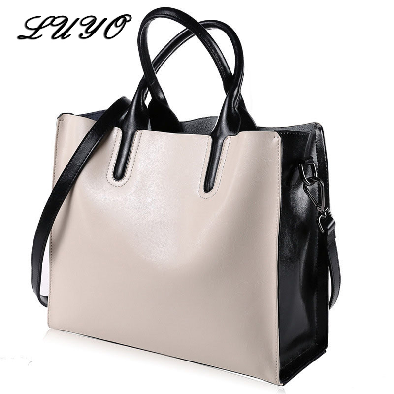 LUYO 100% Genuine Leather Designer Ladies Handbags High Quality Shoulder Bag Beige Women Messenger Tote Famous Brands Female paste lady real leather handbags patent famous brands designer handbags high quality tote bag woman handbags fringe hot t489