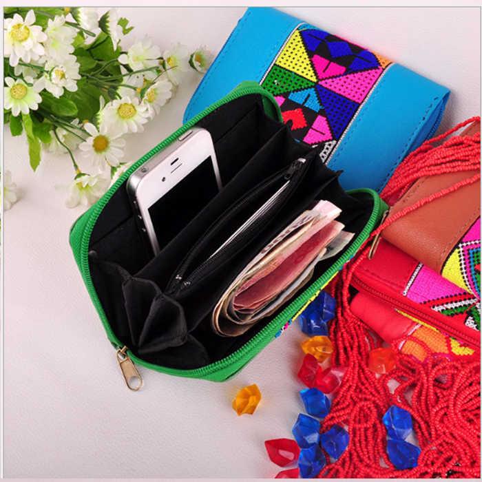 2018 Nova Flor Bordada Bolsa da moeda do cartão de telefone Carteira de couro Handmade Étnico Bordado floral curto bolsa para presente da menina