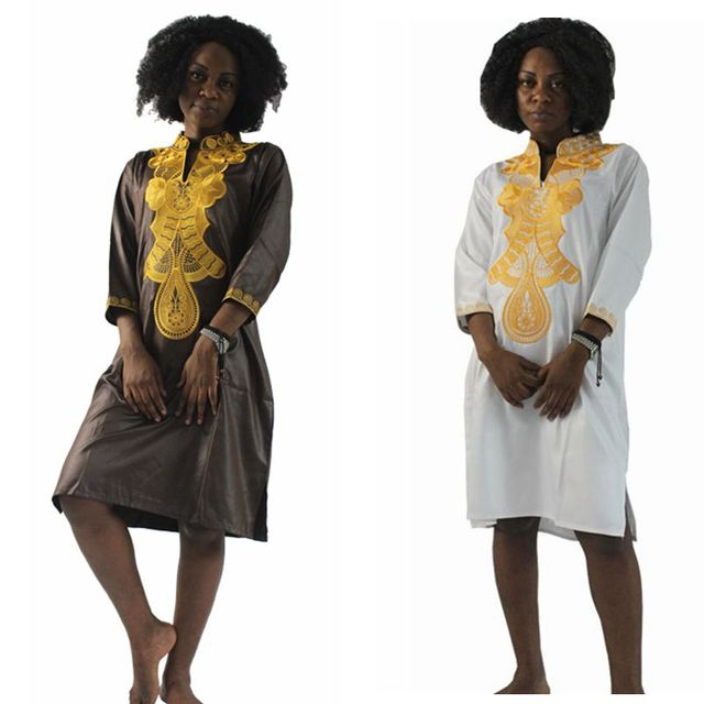 H&D Dashiki Africa Cotton Dresses Top Bazin dress for african women Traditional Private African Custom africa embroidery dress 9