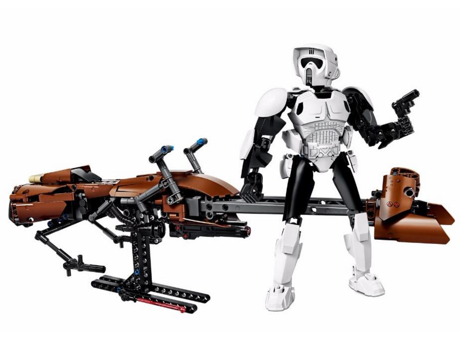 StarWars Scout Trooper Speeder Bike Classic Models Bricks toys for children building blocks compatible with legoingy scout nano exclusive
