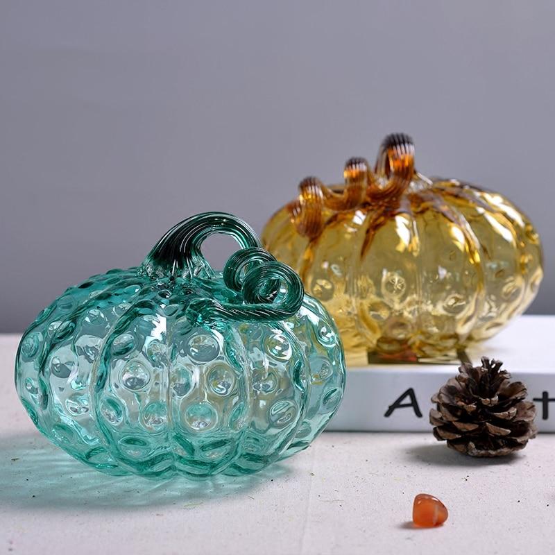 Creative glass pumpkin Decoration Crafts Halloween decorate statues ornaments fruit Figurines Miniatures festival party supplies