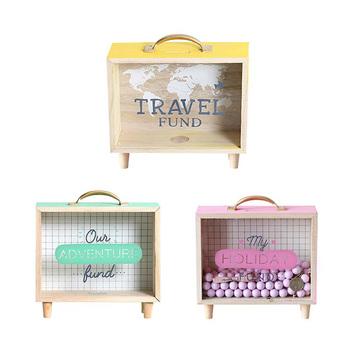 Kreatywna drewniana walizka skarbonka Brand New Wood skarbonka skarbonka Cartoon dzieci dzieci oszczędzania pieniędzy skarbonka moneta kasa tanie i dobre opinie Drewna Piggy bank Rectangle ABEDOE