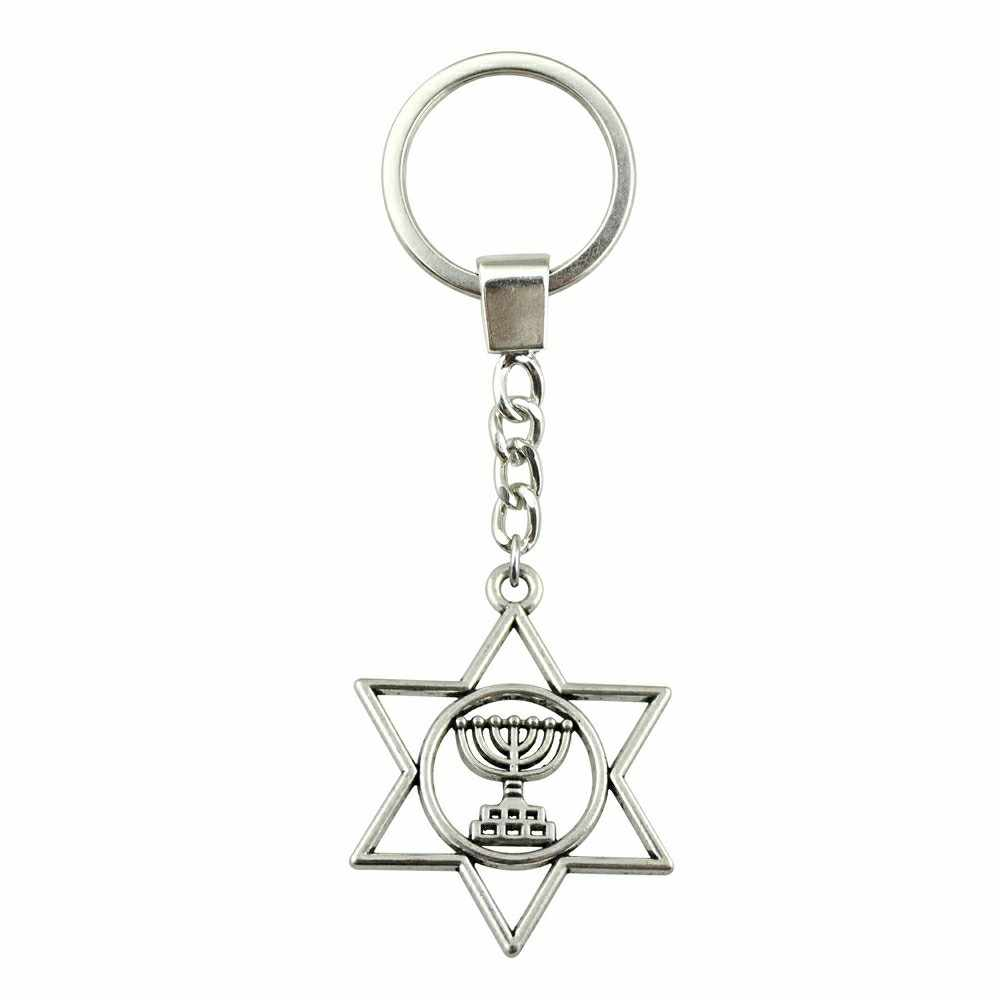 ผู้ชายเครื่องประดับ Key CHAIN ของขวัญ Keychains Dropshipping เครื่องประดับ 39x32 มม.ยิว Menorah Star Of David