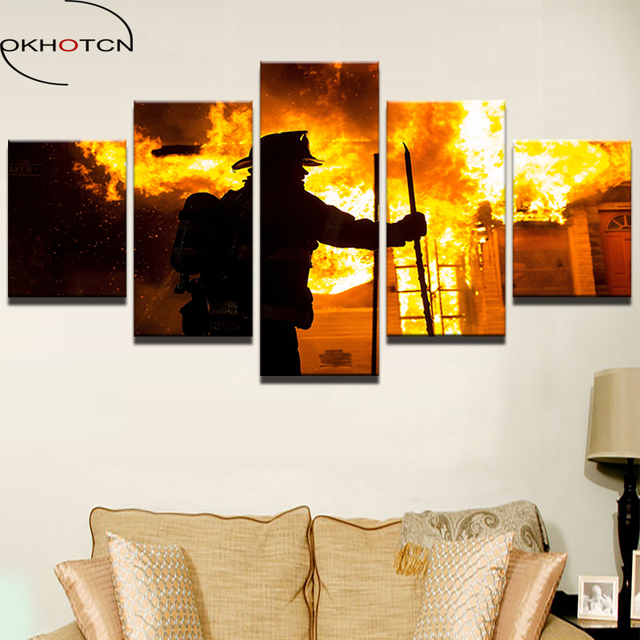 OKHOTCN Canvas Painting Printed Wall Art Modern Fireman Pictures 5 Pieces Home  Decor Fire Fighter Warrior