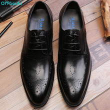 QYFCIOUFU 2019 Mens Dress Shoes New Arrival British Style Pointed Toe Formal Genuine Leather Fashion Lace-up Office