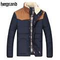 HEE GRAND 2017 Winter England Style New Male Solid Long Sleeve Fashion Casual Overcoat Winter Men Jacket MWM1489