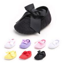 Новая Милая повседневная обувь для маленьких девочек на мягкой подошве с бантиком весенне-Осенняя обувь без шнуровки с цветочным принтом для детей 0-18 месяцев, 5 стилей