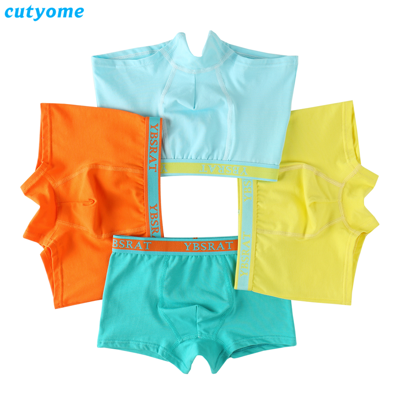 1pc Boys Underwear Boxer Cutyome Pure Color Cotton Kids Thong Briefs Puberty Underpants 2-15 Yrs Teenages Wearing Undies   Panties
