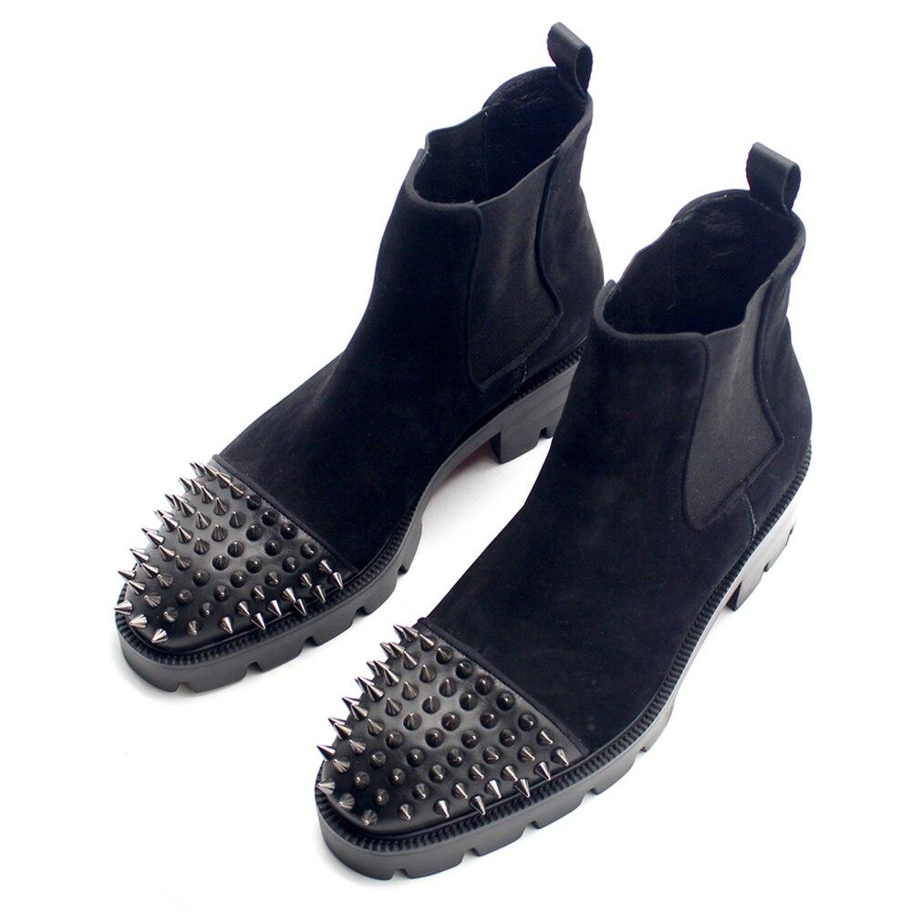 Новые мужские туфли с плоским носком новичок длинные заклепки голова слой из матовой кожи ботинки челси мужчин zapatos de hombre
