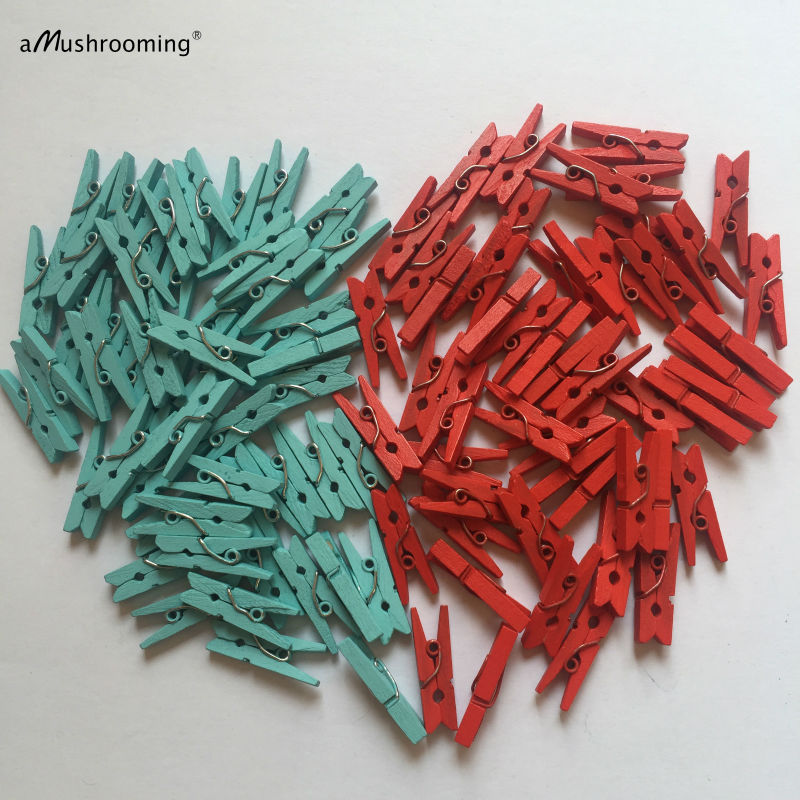 25 x Red Mini Wooden Craft Pegs Pale Blue Small 1 Clothespins Party Supplies Wedding Party Favors Photo Wall Wish Tree Clips