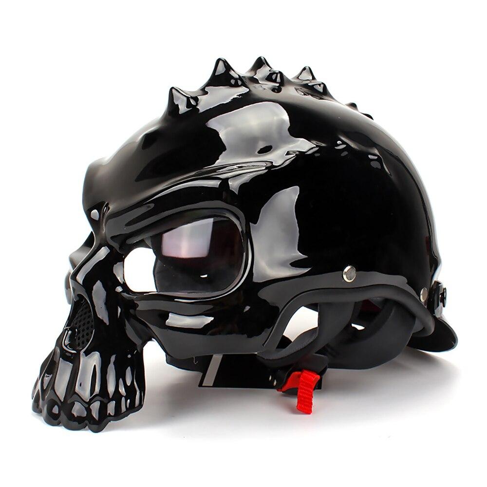 Casque Moto crâne casque visage ouvert Moto rétro motard Casco Motocross Casco casque Moto Double Face vestimentaire