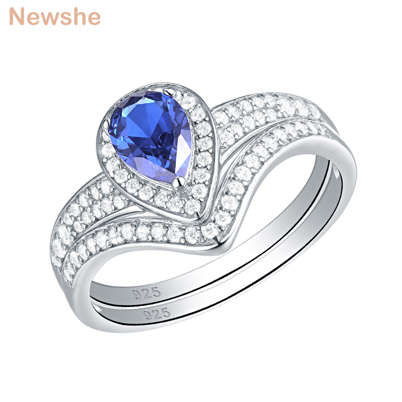 Newshe 1.25 Carats Light Blue Pear Shape Genuine 925 Sterling Silver Wedding Rings For Women AAA CZ Engagement Ring Bridal SetNewshe 1.25 Carats Light Blue Pear Shape Genuine 925 Sterling Silver Wedding Rings For Women AAA CZ Engagement Ring Bridal Set