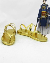 Touken Ranbu Online Game Tachi Mikazuki Munechika Cosplay Women Men Sandals Strap Open-toed Golden Shoes Platform Free Shipping
