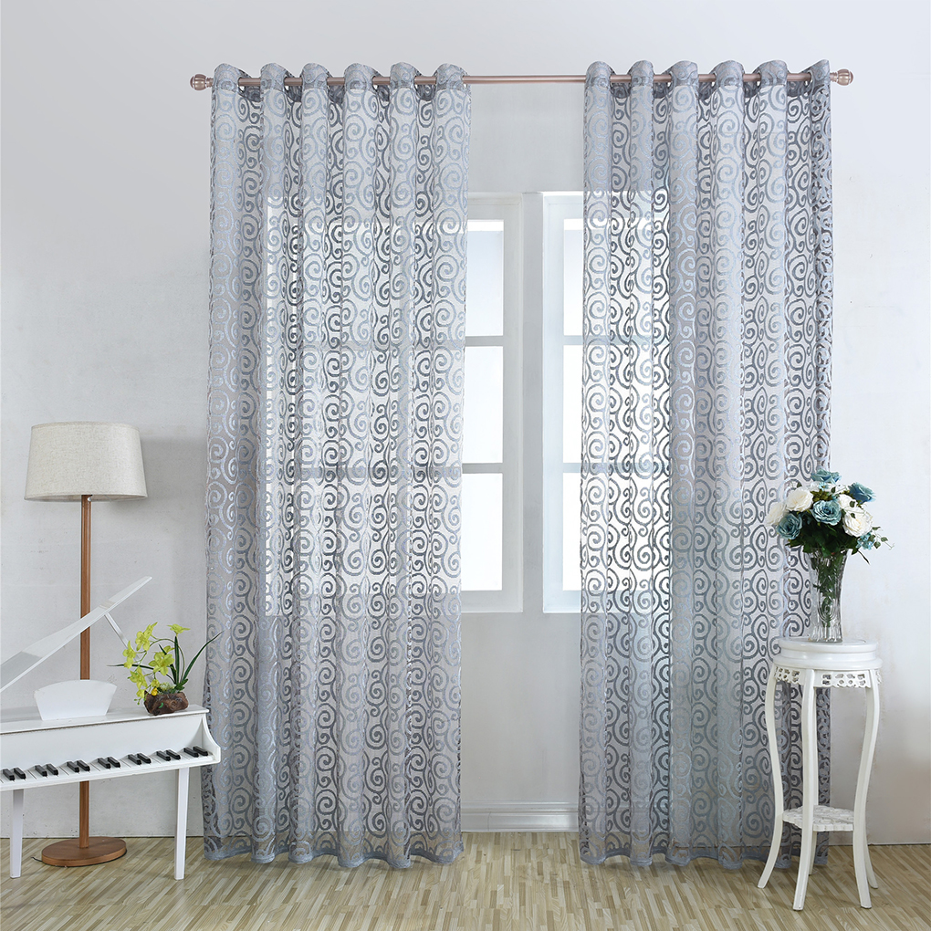 Country Style Floral Door Window Curtains Sheer Curtain Panels Free Hook  For For Bedroom Living Room