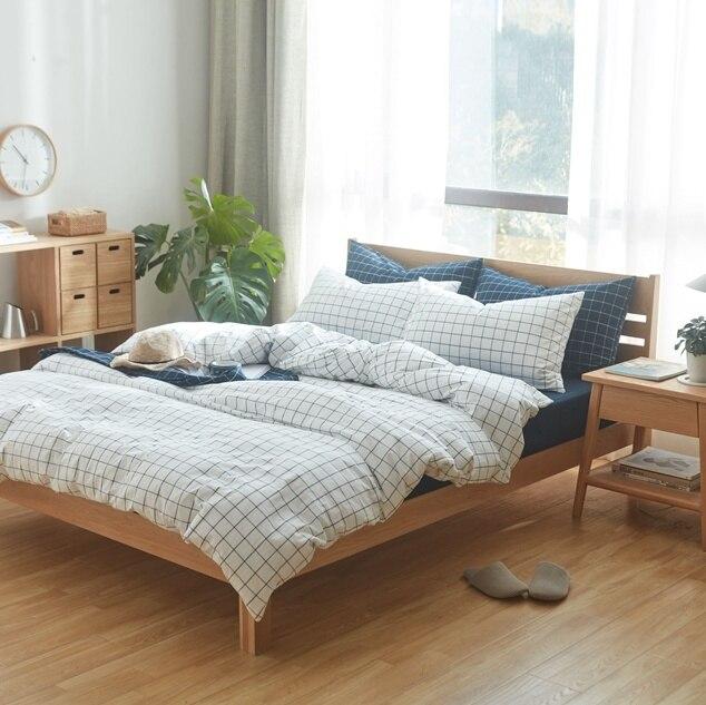 Bedding Set White Grid Duvet Cover Bed Sheets Modern Style Bedding