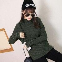 Nouvelle hiver moitié chandail tricoté dames chemise à manches longues col roulé dans épaissie lâche