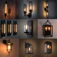 Iron black lampshade wall lamp vintage cage guard sconce loft lighting fixture modern indoor lighting wall lamps