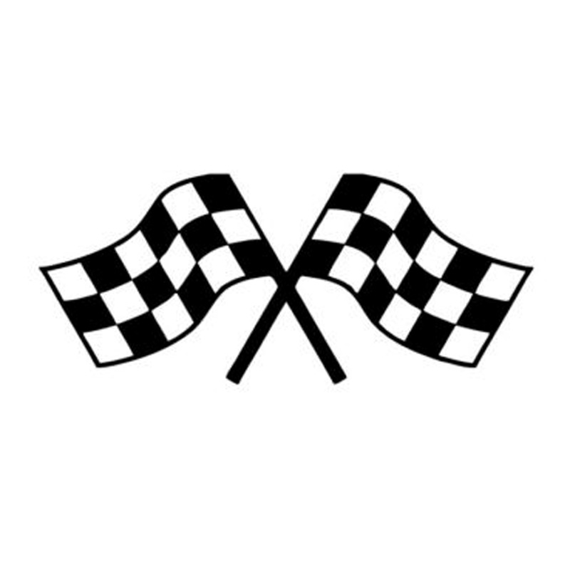 17 7cm 7 6cm Crossed Checkered Flags Fashion Car Sticker
