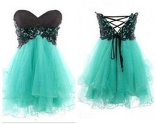 2015 mint green strapless homecoming dresses with black lace top corset back A line puffy mini graduation dresses short strapless lace insert corset