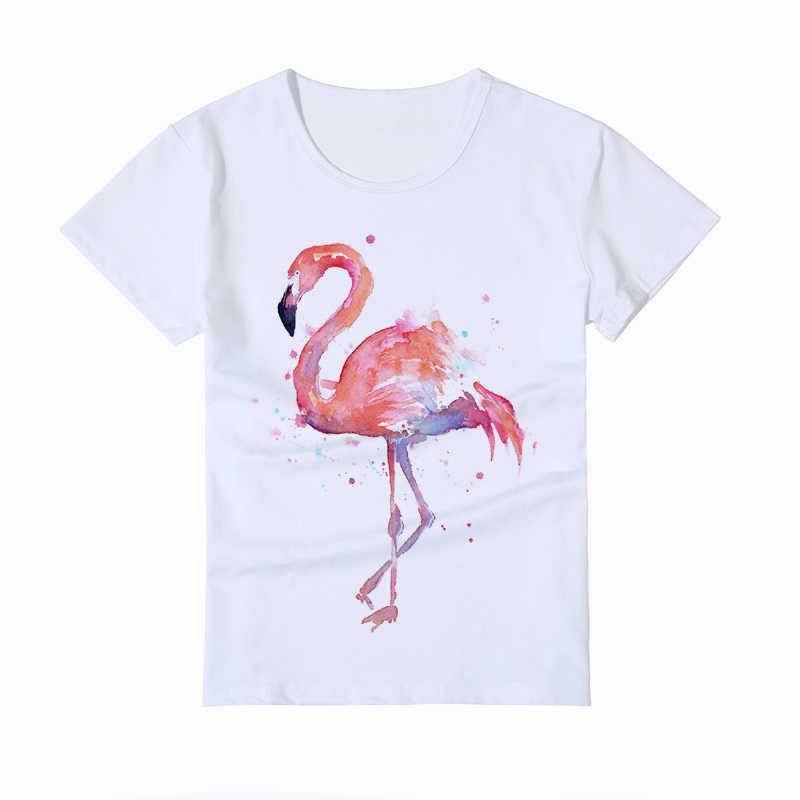 d535dfddd ... Cute Flamingo Painting Design Children's T-Shirt Girls White Casual  Kids T-Shirt Boy ...