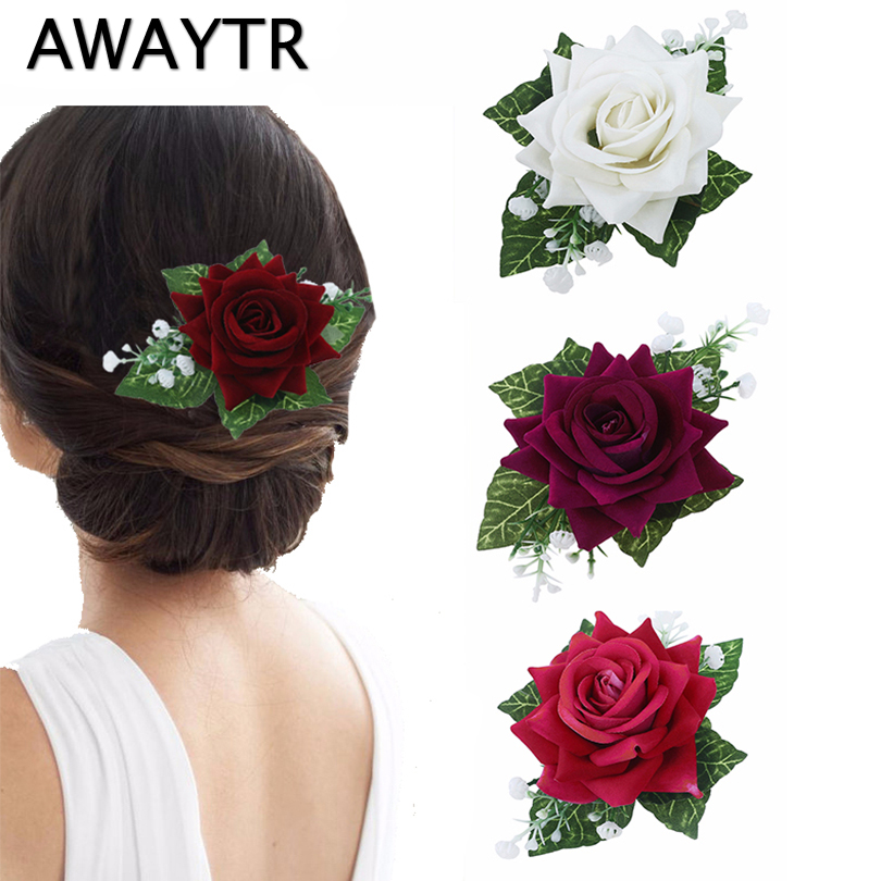 AWAYTR Rose Flower Hairpins For Women Brooches Bride Hair Clips  Elegant  Ladies Wedding Hair Accessories 4 Colors For Girls