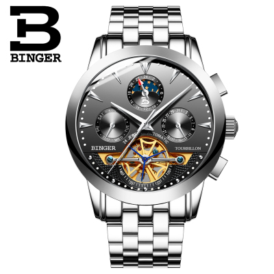Binger parnis silver white dial power reserve Luxury Brand Genuine Leather relogio masculino automatic movement mens watch 40mm parnis white dial vintage automatic movement mens watch p25