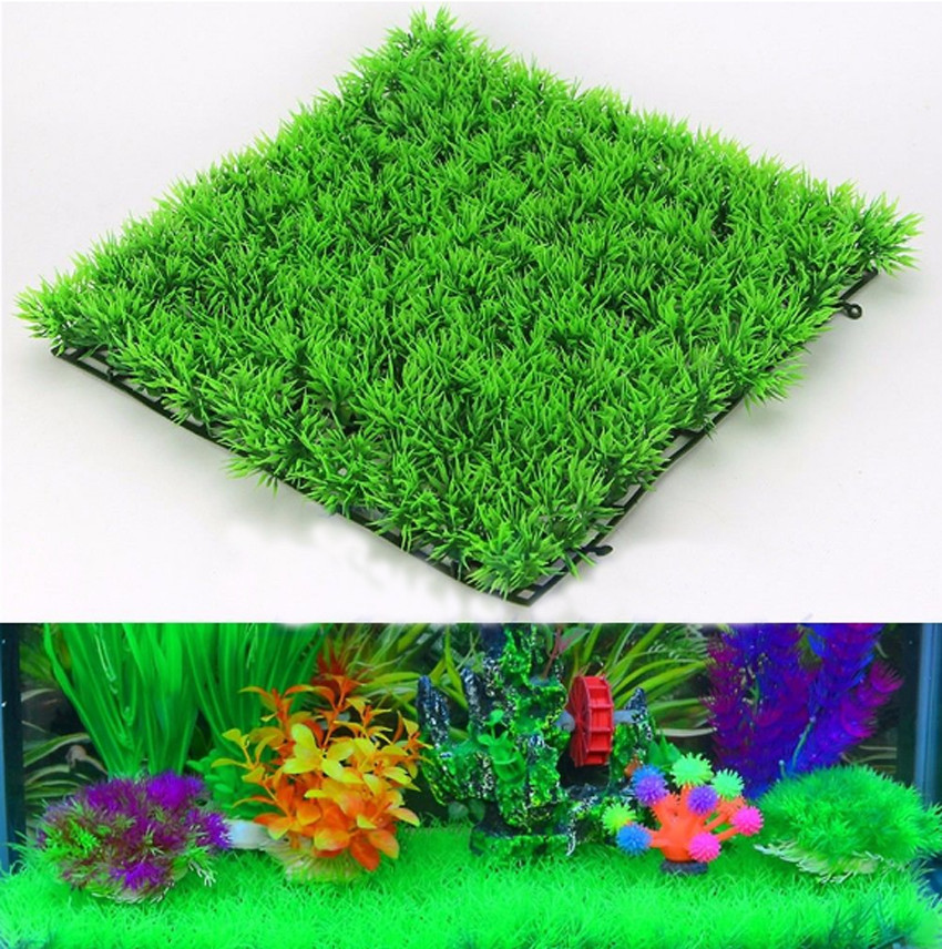 Eco-Friendly Aquarium Ornaments Artificial Water Plastic Green Grass Plant Lawn Aquatic Aquarium Fish Tank Decor(China)