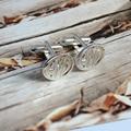 Atacado casamento do noivo presente abotoaduras de prata homens monograma gravado para dia dos pais personalizado inicial pano acessório gemelos
