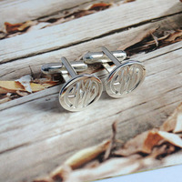Wholesale Groom Wedding Gift Silver Men CuffLinks Engraved Monogram For Fathers Day Custom Initial Cloth Accessory
