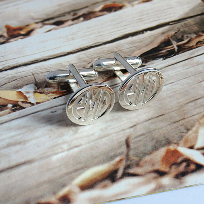 Wholesale Groom Wedding Gift Silver Men CuffLinks Engraved Monogram for Fathers Day Custom Initial Cloth Accessory gemelos цена