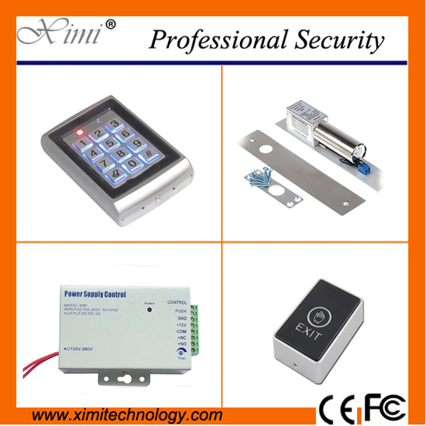 Good quality access controller without software with exit button/180/280kg EM lock single door access control single door access control system with 125khz rfid card without software door with 180kg 280kg magnetic lock touch exit button